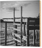 Black And White Old Time Dock Wood Print