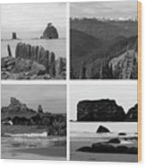 Black And White Olympic National Park Collage Wood Print