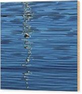 Black And White On Blue Wood Print