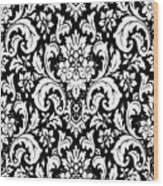 Black And White Paisley Pattern Vintage Wood Print