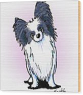 Black And White Papillon Wood Print