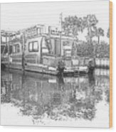 Black And White Party Boat Wood Print