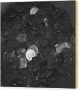 Black And White Pennies Wood Print