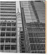 Black And White Philadelphia - Skyscraper Reflections Wood Print