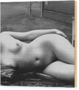 Black And White Photo Of Female Erotic Nude Wood Print