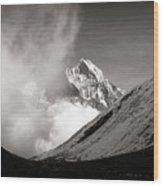 Black And White Photo Of Snow Peak In Nepal Wood Print