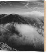 Black And White Photograph Of Fog Rising In The Marin Headlands - Sausalito Marin County California Wood Print