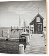 Black And White Photography - Martha's Vineyard - Black Dog Wharf Wood Print