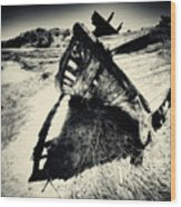 Black And White Photography Shipwreck Pinhole Wood Print