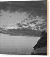 Black And White Pre-sunrise On Daytona Beach Pier  002 Wood Print