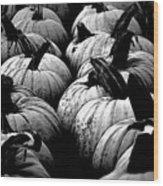 Black And White Pumpkins Wood Print