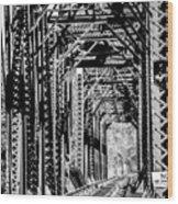 Black And White Railroad Wood Print