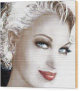 Black And White Red Lips Wood Print