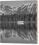 Black And White Reflection On Jackson Lake Wyoming Wood Print
