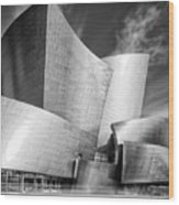 Black And White Rendition Of The Walt Disney Concert Hall - Downtown Los Angeles California Wood Print