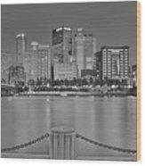 Black And White Riverfront 2017 Wood Print