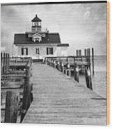 Black And White  Roanoke Lighthouse Wood Print