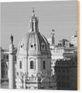 Black And White Rooftop In Rome Wood Print