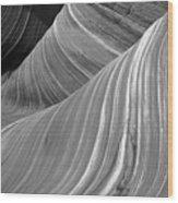 Black And White Sandstone Waves Wood Print