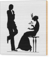 Black And White Silhouette Of A Man Giving A Woman A Flower Wood Print