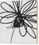 Black And White Sketch Flower 4- Art By Linda Woods Wood Print