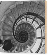 Black And White Spiral Wood Print