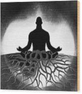 Black And White Spiritual Grounding Wood Print