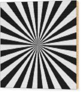 Black And White Starburst Wood Print