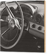 Black And White Thunderbird Steering Wheel And Dash Wood Print
