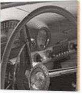Black And White Thunderbird Steering Wheel  Wood Print