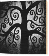 Black And White Tree Wood Print