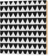 Black And White Triangles- Art By Linda Woods Wood Print