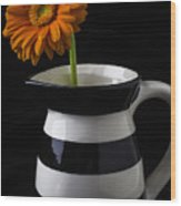 Black And White Vase With Daisy Wood Print