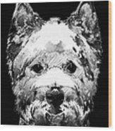 Black And White West Highland Terrier Dog Art Sharon Cummings Wood Print