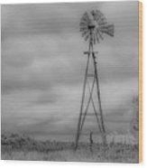Black And White Windmill Wood Print