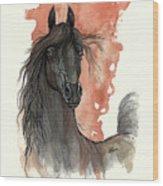 Black Arabian Horse 2013 11 13 Wood Print