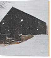 Black Barn II Wood Print