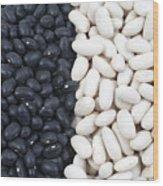 Black Beans And White Beans Wood Print