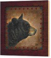 Black Bear Lodge Wood Print by JQ Licensing
