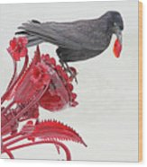 Black Bird Red Silicate Glass Flowers Gray Background 2 8282017  Wood Print