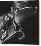 Black Boxer In Black And White 04 Wood Print by Val Black Russian Tourchin