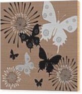 Black Butterflies Wood Print