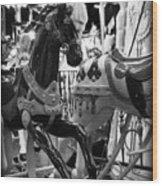 Black Carousel Horse Wood Print