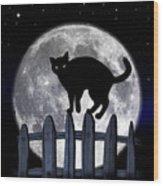 Black Cat And Full Moon 3 Wood Print