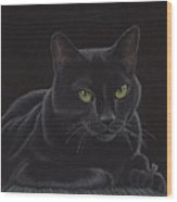 Black Cat - I'm Watching You Wood Print