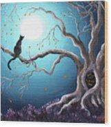 Black Cat In A Haunted Tree Wood Print