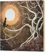 Black Cat In A Spooky Old Tree Wood Print