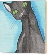 Black Cat Magic Wood Print