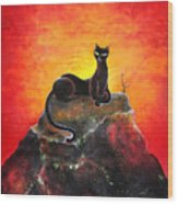 Black Cat. Mistress Of Diamond Mountain Wood Print