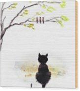 Black Cat Painting Wood Print